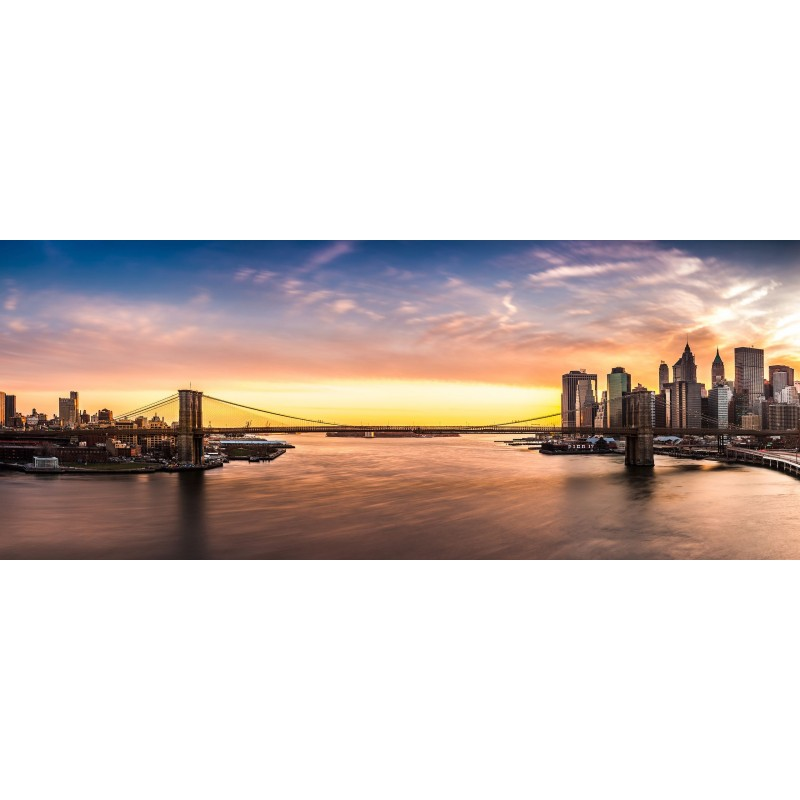 Deko-Panel: Sonnenaufgang New York, 125 x 50 cm