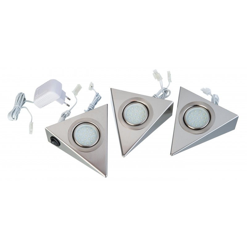 Nino Leuchten LED-Unterbau -DREIECK-, nickel, B: 12,5 cm, H: 5 cm, T: 13,5 cm