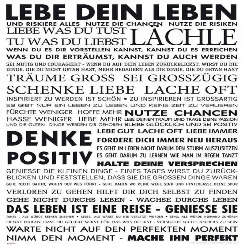 Deko-Panel: Lebe dein leben, 50 x 50 cm
